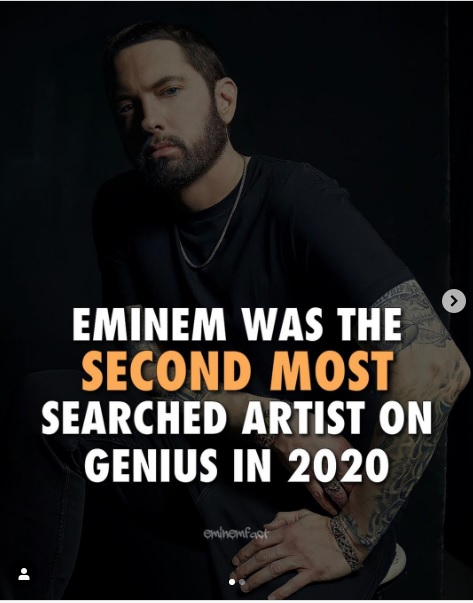eminem was the second most searched artist on genius in 2020